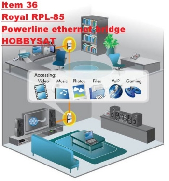 House Distribution - Royal+ RPL-85 HomePlug Powerline Network Ethernet Bridge 85Mbps Pair wall mount Internet Adapter video