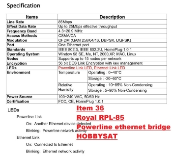 Specs - Royal+ RPL-85 HomePlug Powerline Network Ethernet Bridge 85Mbps Pair wall mount Internet Adapter video