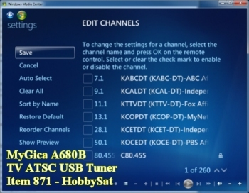 Settings-Edit Channels - MyGica HDTV USB Stick TV Tuner A680B Windows 7