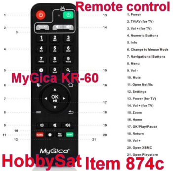 Remote functions - MyGica KR60 factory infrared remote control XBMC Android