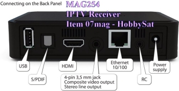 Back of Mag254 IPTV SET TOP BOX receiver